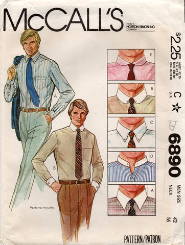 McCall's 6890 mens 70s shirts
