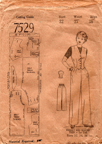 aust home journal 7529 40s vest and pants