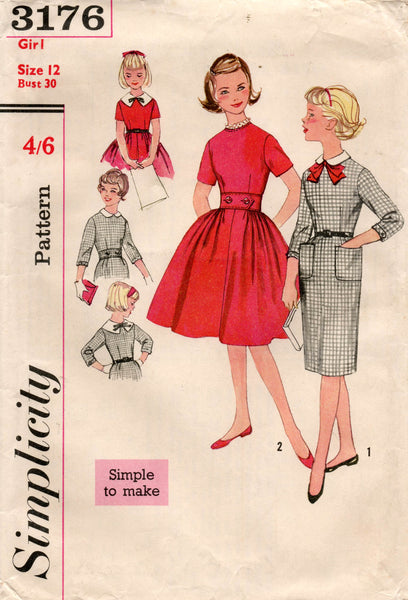 simplicity 3176 50s girls dress