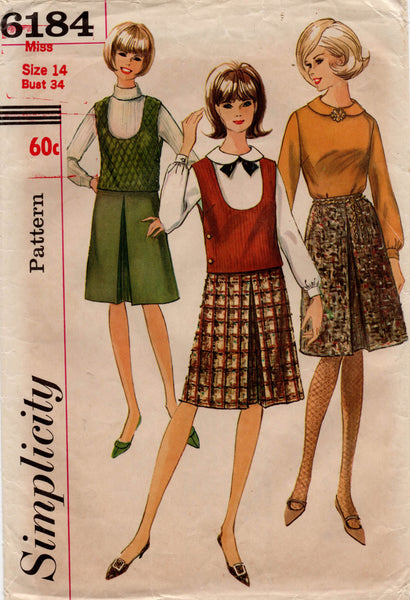 simplicity 6184 60s blouse top skirt