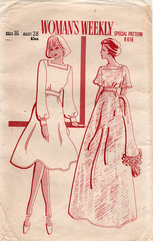 Woman's Weekly B 616 Womens Square Neck Dress & Scarf 1970s Vintage Sewing Pattern Size 16 Bust 38 inches UNCUT Factory Folded