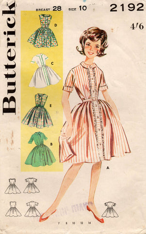 Butterick 2192 Girls Full Skirt Shirtwaist Dress 1960s Vintage Sewing Pattern Size 10 Breast 28 inches