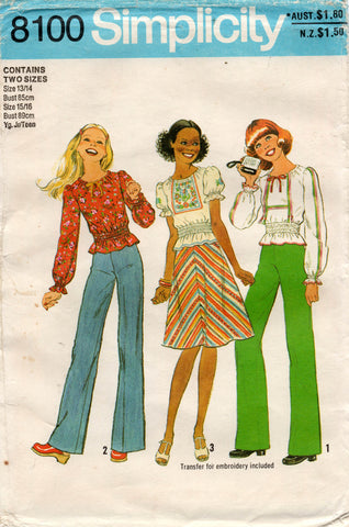 Simplicity 8100 Young Junior Teen Embroidered Top Bias Skirt & Pants 1970s Vintage Sewing Pattern Size 13/14 & 15/16 UNCUT Factory Folds