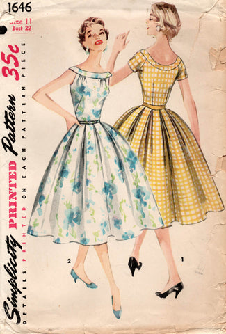 Simplicity 1646 Junior Misses Full Skirt Dress 1950s Vintage Sewing Pattern Size 11 Bust 29 Inches UNCUT Factory Folded