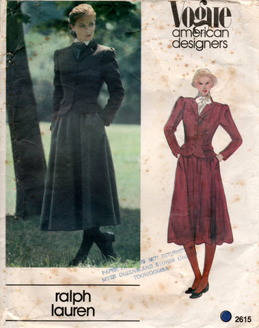 Vogue American Designer 2615 RALPH LAUREN Womens Shaped Jacket & Skirt 1980s Vintage Sewing Pattern Size 14 UNCUT Factory Folded