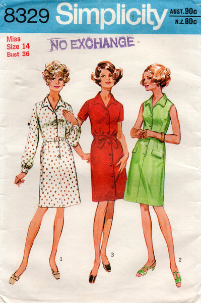 Simplicity 8329 Womens Classic Shirtdress 1970s Vintage Sewing Pattern Size 14 Bust 36 Inches