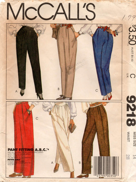 McCall's 9218 Womens Retro High Waisted Pleat Front Pants 1980s Vintage Sewing Pattern Size 14 UNCUT Factory Folds