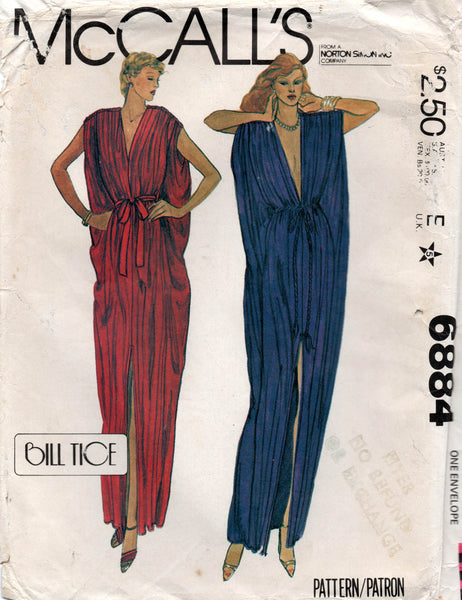 McCall's 6884 BILL TICE Womens Caftan & Tie Belt 1970s Vintage Sewing Pattern ONE SIZE ( 6 - 20 ) UNCUT Factory Folded
