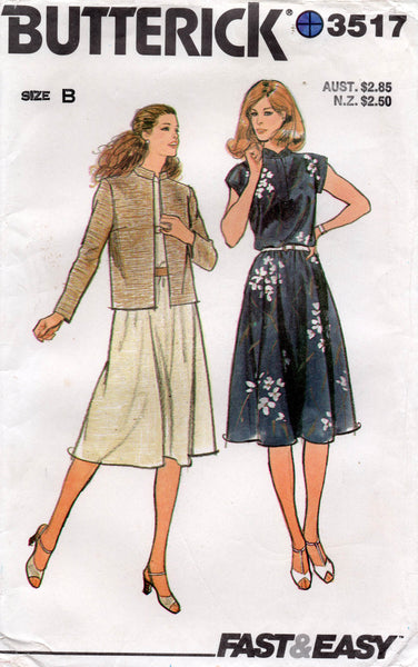 butterick 3517 80s dress and jacket