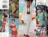 Vogue Wardrobe 2300 Womens Bikini Caftan Top Shorts & Sarong 1990s Vintage Sewing Pattern Size 12 - 16 UNCUT Factory Folded