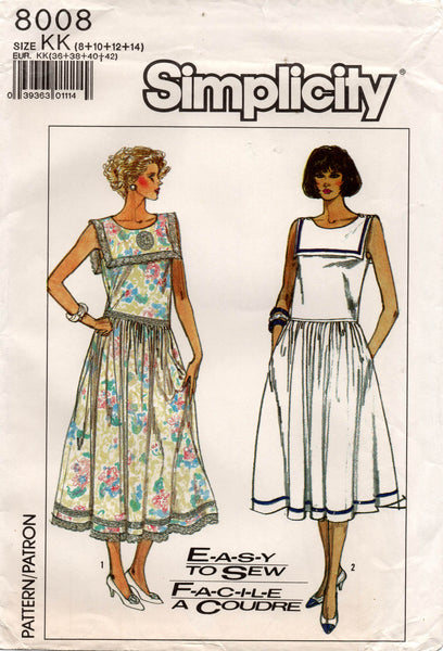 Simplicity 8008 Womens Drop Waisted Sailor Dress 1980s Vintage Sewing Pattern Size 8 - 14 UNCUT Factory Folded