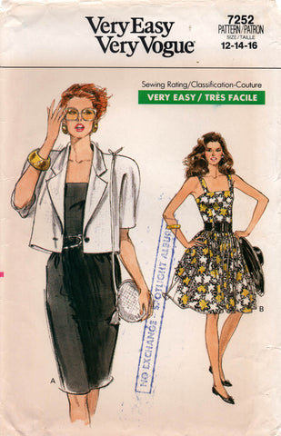 Vogue 7252 Womens Fit & Flared Dress and Jacket 1980s Vintage Sewing Pattern Size 12