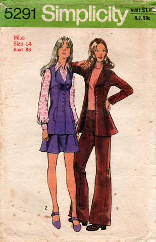 simplicity 5291 70s skirt pants vest jacket