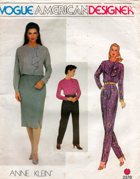 vogue 2370 Anne Klein pants skirt blouse 80s