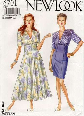 New Look 6701 Womens High Waisted Dress with Gathered Bodice 1980s Vintage Sewing Pattern Size 8 - 18 UNCUT Factory Folded