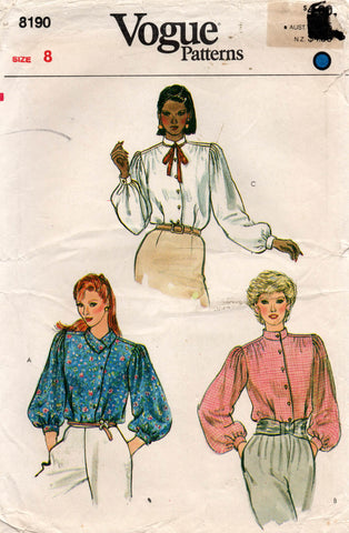 vogue 8190 80s blouse