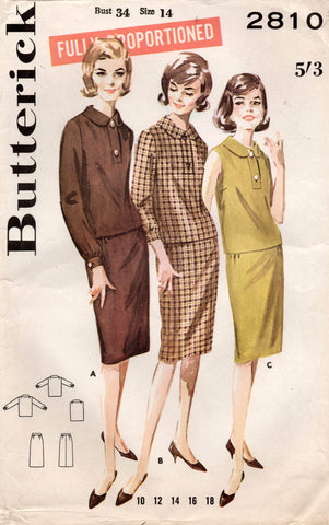 butterick 2810 60s 2 pc dress
