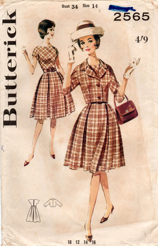 butterick 2565 60s dress and jacket