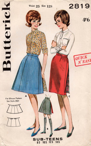 butterick 2819 60s wrap skirts