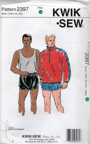 Kwik Sew 2397 Mens Sports Shorts Stretch Tank Top & Jacket 1990s Vintage Sewing Pattern Size S - XXL UNCUT Factory Folded