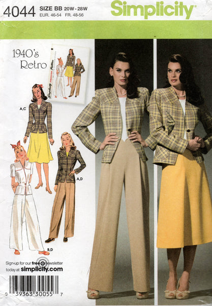 Simplicity 4044 Womens Skirt Pants & Lined Jacket Loungeing Pajamas Reissued 1940s OOP Sewing Pattern Size 20 - 28 UNCUT Factory Folded