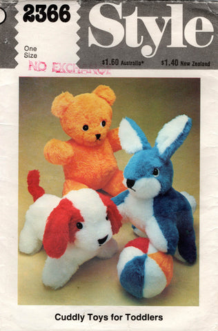 style 2366 stuffed toys 70s