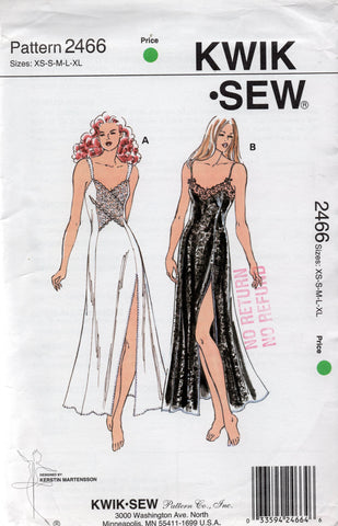 Kwik Sew 2466 Womens Stretch Full Length Princess Nightgown 1990s Vintage Sewing Pattern Size XS - XL UNCUT Factory Folded