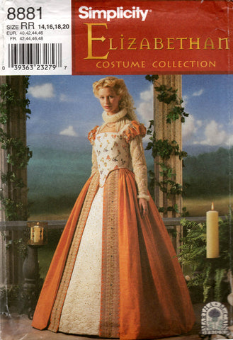 Simplicity 8881 Womens Elizabethan Costume 1990s Vintage Sewing Pattern Size 14 - 20 UNCUT Factory Folded