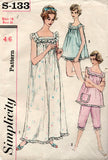 Simplicity s 133 Womens Nightgown Bloomers & Knickers 1960s Vintage Sewing Pattern Bust 32 or 36 inches