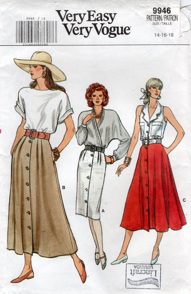 Vogue 9946 Womens Flared or Slim Button Through Skirts 1980s Vintage Sewing Pattern Size 14 -18