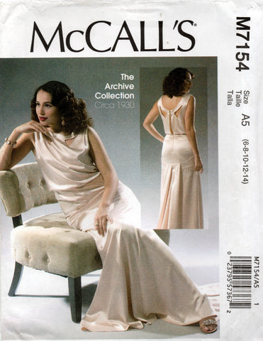 McCall's 7154 Womens Reissued 1930s Evening Gown OOP Sewing Pattern Size 6 - 14 or 14 - 22 UNCUT Factory Folds