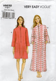 Very Easy Vogue 9232 Womens EASY Zip Front Caftan Dress Out Of Print Sewing Pattern Sizes XS - M UNCUT Factory Folded