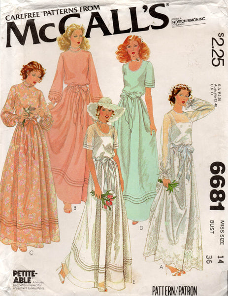 McCall's 6681 Womens Tucked Wedding Bridesmaids Prom Formal Gown & Slip 1970s Vintage Sewing Pattern Size 14 UNCUT Factory Folded
