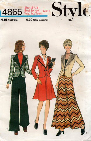 Style 4865 Young Junior Teen Jacket Maxi Midi Skirts & Pants 1970s Vintage Sewing Pattern Size 15/16 Waist 27 Inches UNCUT Factory Folded