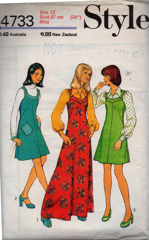 2d6774b5eb5f Style 4733 Womens Blouse Dress Maxi & Jumper 70s Vintage Sewing Pattern Size  12 Bust 34 inches