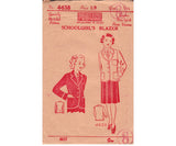 1930s Girl's School Blazer Pattern Pauline 4638 Tailored Coat Jacket Vintage Sewing Pattern Size 8 Chest 26 inches