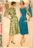 Simplicity 1640 Womens Half Size Dress & Jacket 1950s Vintage Sewing Pattern Size 16 1/2 Bust 37 inches