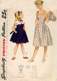 Simplicity 3499 Girls Scalloped Edge Full Skirt Party Dress & Button On Bolero 1950s Vintage Sewing Pattern Size 8