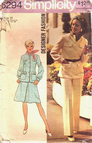 Simplicity 6294 Womens Retro Jacket Skirt & Pants 1970s Vintage Sewing Pattern Size 10 UNCUT Factory Folded