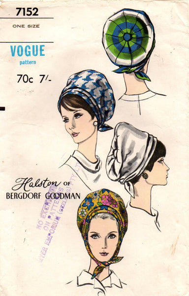 vogue 7152 designer 60s hats turban