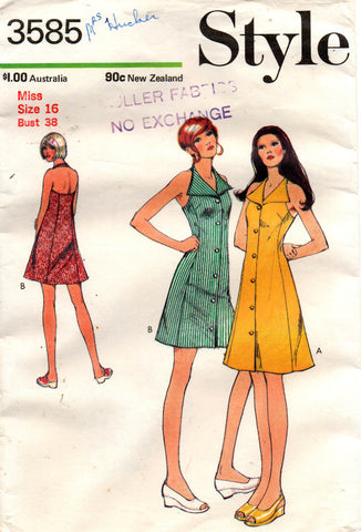 ce8f3b10bc5 Style 3585 Womens Collared Halter Sun Dress 70s Vintage Sewing Pattern Size  16 Bust 38 inches