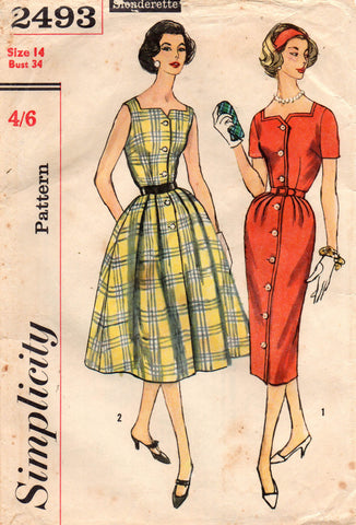 5b436b961d99e Simplicity 2493 Womens Full Skirt Dress or Sheath 50s Vintage Sewing  Pattern Size 14 Bust 34 inches