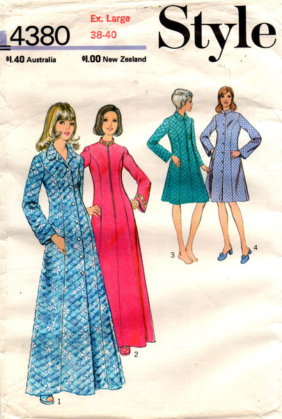 Style 4380 Womens Housecoat or Robe 70s Vintage Sewing Pattern Size EX –  allthepreciousthings.com.au 4f5f9940e