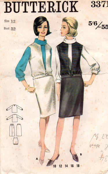 0f5ab24a11 Butterick 3371 Womens Blouse Vest & Skirt 60s Vintage Sewing Pattern S