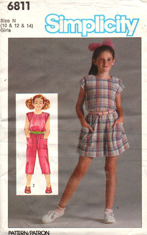 simplicity 6811 girls jumpsuit