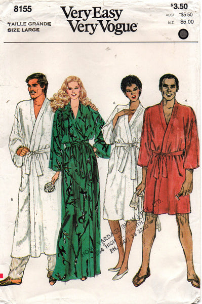 Vogue 8155 EASY Mens Womens UNISEX Robe 1980s Vintage Sewing Pattern Size S, M or L