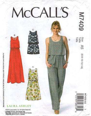 McCall's M7409 laura ashley jumpsuit rompers dress