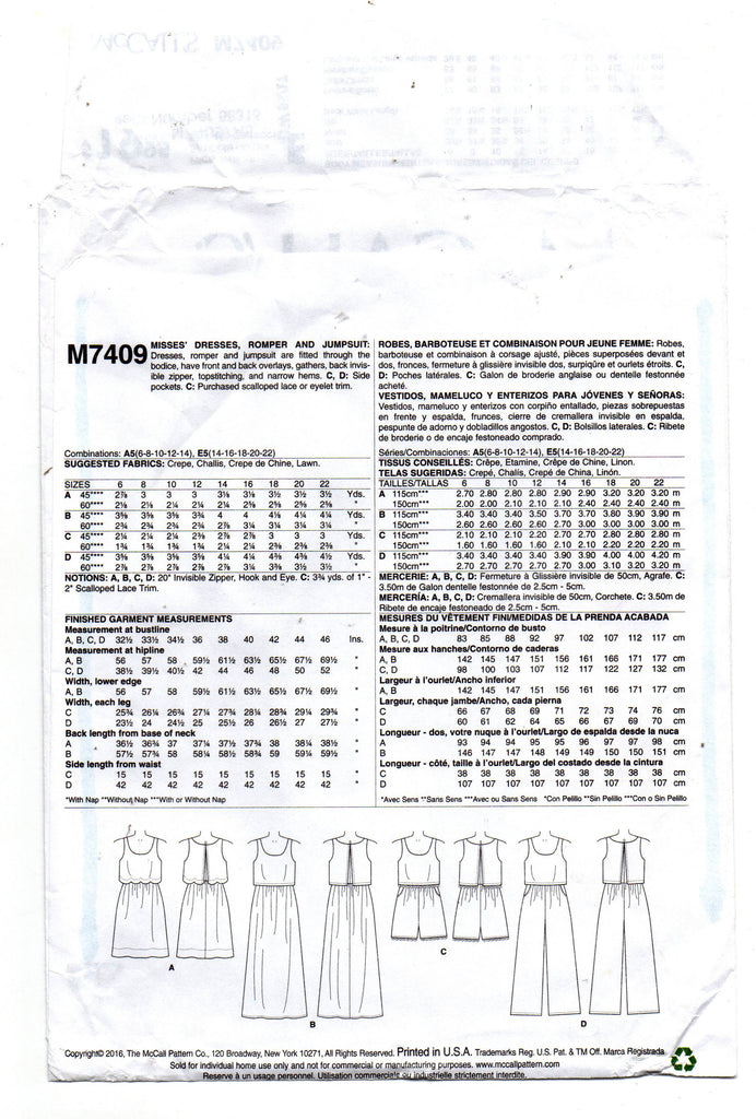 6636d93c8f8e ... McCall s 7409 LAURA ASHLEY Womens Dress Rompers or Jumpsuit with Bodice  Overlay Sewing Pattern Size 6 ...