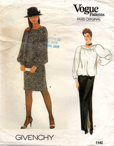 Vogue 1142 Givenchy top and skirt 80s