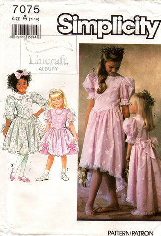 simplicity 7075 girls party dress 1990